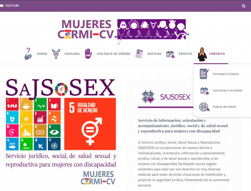 Servicio SAJSOSEX en la pagina web de MUJERES CERMI CV, pagina dotada de un panel de accesibilidad universal, pictogramas, audios y lengua de signos.