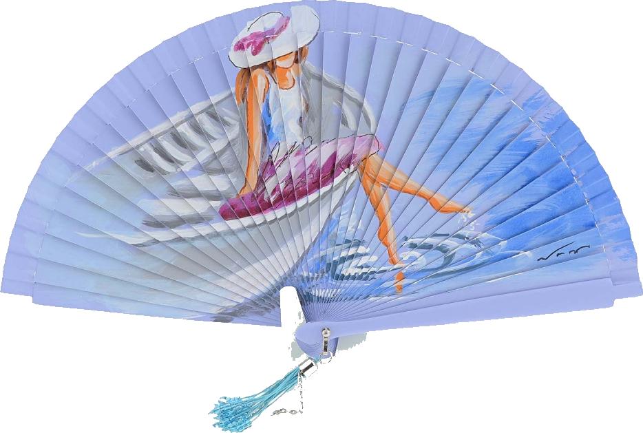 Abanico morado con una mujer sentada en una barca